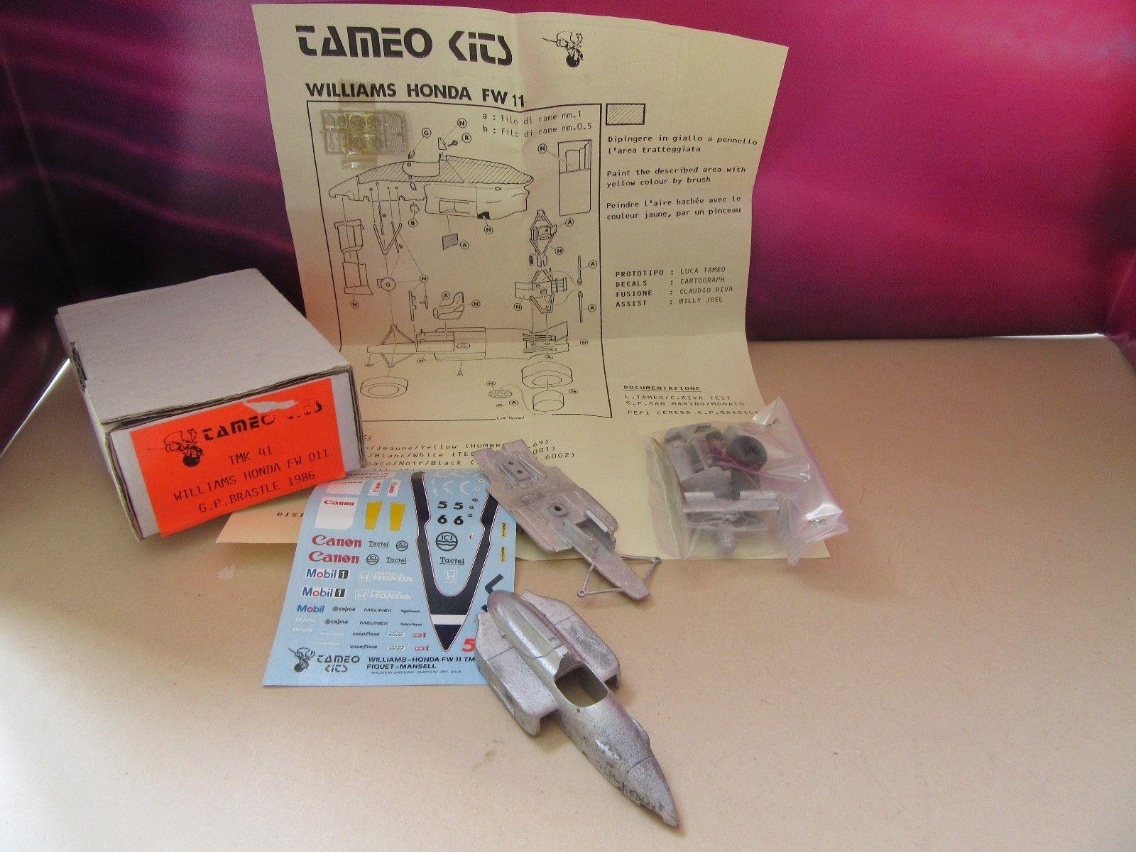KIT à monter TAMEO F1 WILLIAMS HONDA FW 11 MANSELL PIQUET 1° BRESIL 1986 1 43°