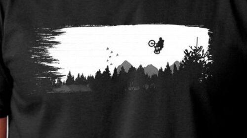 Mountain bike racing mens black 100/% cotton light weight summer t-shirt