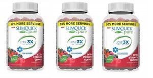 SlimQuick Pure Mixed Berries Gummies Dietary Supplement 60 Gummies (Pack of 3)