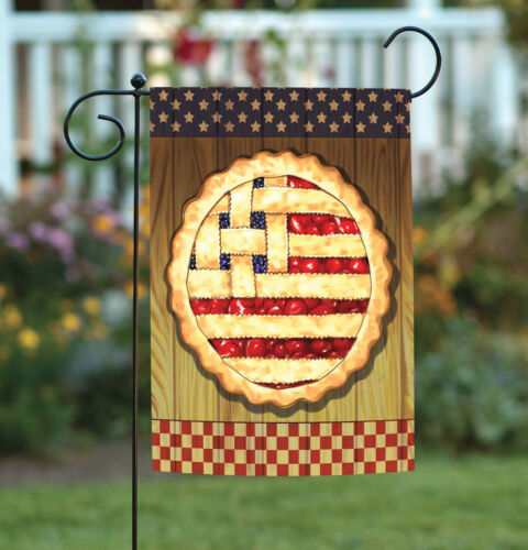 Toland American Lattice Pie 12.5 x 18 Patriotic USA Cherry Fruit Garden Flag