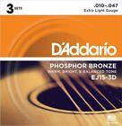 D'Addario EJ15-3D Phosphor Bronze Acoustic Guitar Strings - 3 Pack