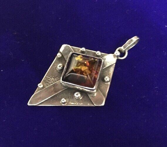 VINTAGE Baltico Miele Ambra Ambra Ambra argentoo Sterling Art & Crafts Cross Design Ciondolo d57c51
