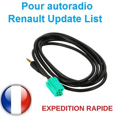 Cable auxiliaire 3.5mm prise audio autoradio MP3 RENAULT CLIO MEGANE 2 AUX cles