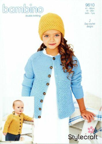 Stylecraft 9610 Knitting Pattern-Crochet Cardigan et bonnet en Bambino DK