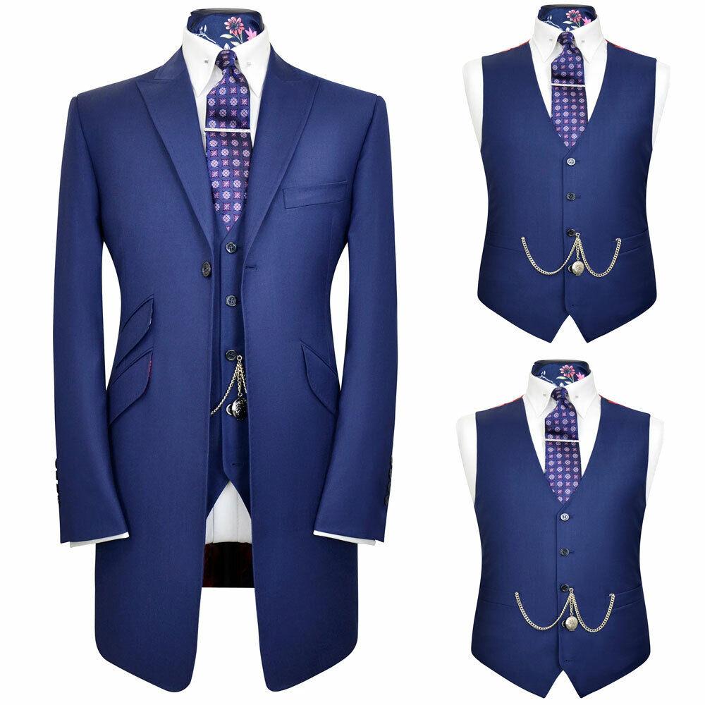 Men Long Blue Suits Formal Morning Tuxedos Groomsman Groom Wedding Slim Suits