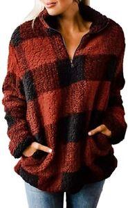 MEROKEETY-Women-039-s-Plaid-Sherpa-Fleece-Zip-Sweatshirt-Long-Sleeve-Pockets-Pullove