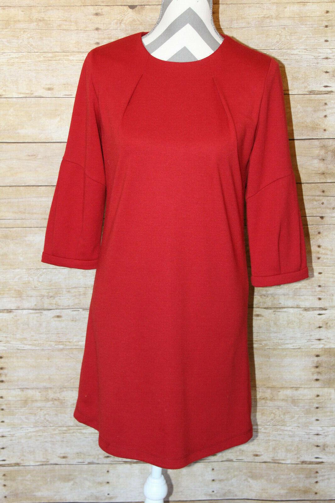 Hazel Red Shift Dress Popover Size Small Keyhole Button