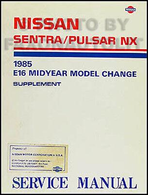 1985.5 Nissan Sentra Pulsar NX Shop Manual Supplement ...