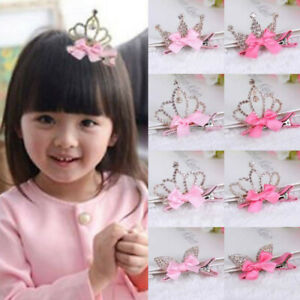 Luxury-Rhinestone-Crown-Hair-Clip-Baby-Girls-Ribbon-Bowknot-Hairpin-Accessories