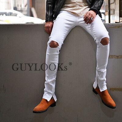 Mens Destroyed Worn-out Damage Zipper Leg Slim White Span Biker Jeans By Guylook
