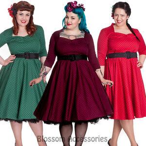 RKP27-Hell-Bunny-Momo-Polka-Dots-Swing-Vintage1950s-Rockabilly-Dress-Pin-Up