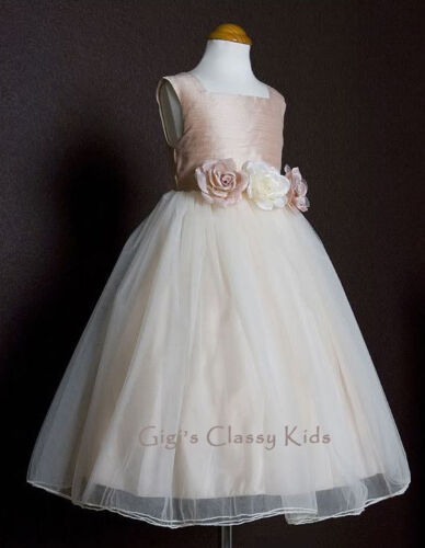 New Ivory Flower Girls Dress Wedding Christmas Pageant Party Easter Fancy 135