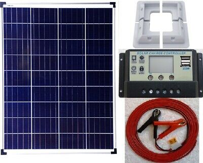 LCD Charger Controller 80w Solar Panel bracket RV 6m cable fuse battery clip