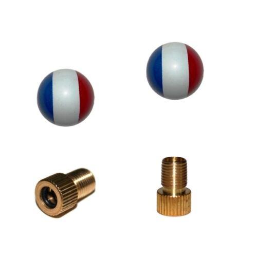 Frankreich Flagge rund für jedes 2er Set Ventilkappen und 2 Fahrrad Adapter