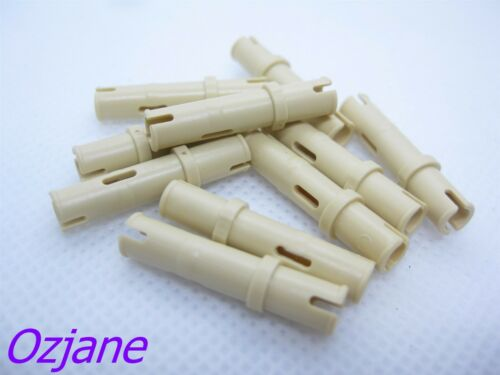 LEGO PART X202 6558 TAN TECHNIC PIN WITHOUT FRICTION RIDGES X10 PIECES NEW