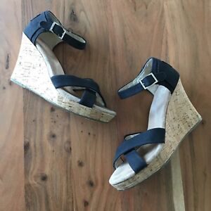 88273987cd5 Image is loading Toms-Black-Canvas-Cork-Wedge-Sandals-Womens-7-