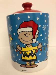 Details About Peanuts Snoopy Charlie Brown Woodstock Christmas Cookie Jar Gibson Mint
