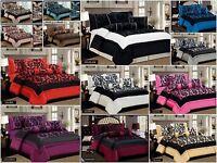 7 Piece Damask Flock Quilted Bedspread Comforter Duvet Throw Set +2 Pillow Shams