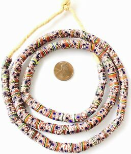 Matched-Ghana-Antique-Venetian-Glass-Millefiori-Eye-Stripe-African-Trade-Beads
