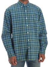 IZOD Saltwater Men's Oxford Shirt Medium Relaxed Teal Yellow Plaids Cotton New