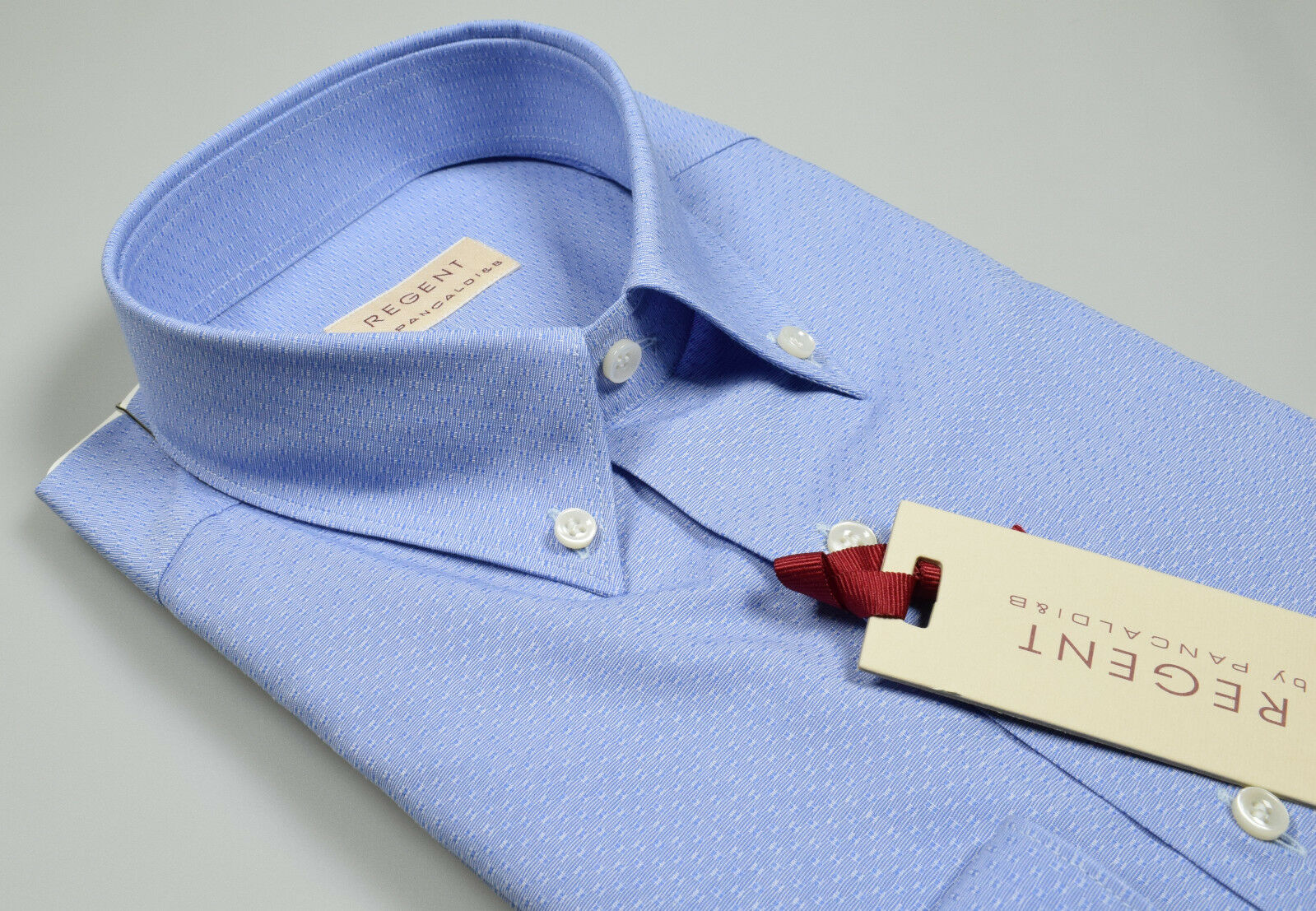 Camicia Azzurra operata Pancaldi in puro Cotone Collo Button Down Regular Fit