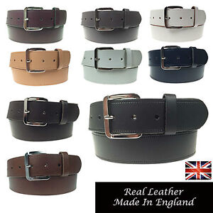 """Mens Womens 1.5/"""" Silver Buckle Handmade In England Real Leather Jeans 40mm Belt"""