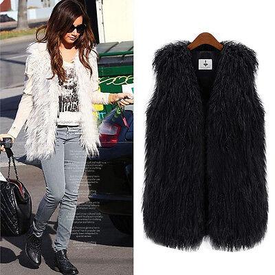 NEW Lady Faux Fur Vest Sleeveless Long Hair Waistcoat Gilet Coat Jacket Outwear