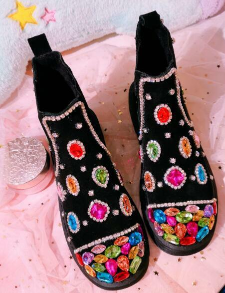 Womens Low Heels Mixed colors Diamonds Rhinestones Ankle Riding Boots shoes F684