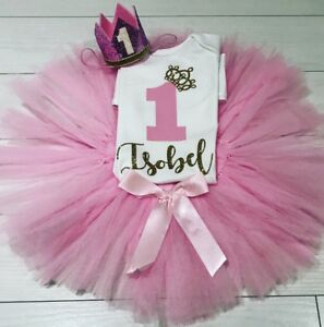 6ee9c424f27f4 Details about Girls Personalised 1st First Birthday Outfit Tutu Skirt Cake  Smash Pink Gold Set