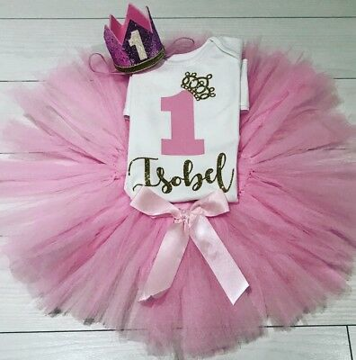 Girls 1st First Birthday Cake Smash Set Outfit Tutu Personalised Pink Gold /& Bow
