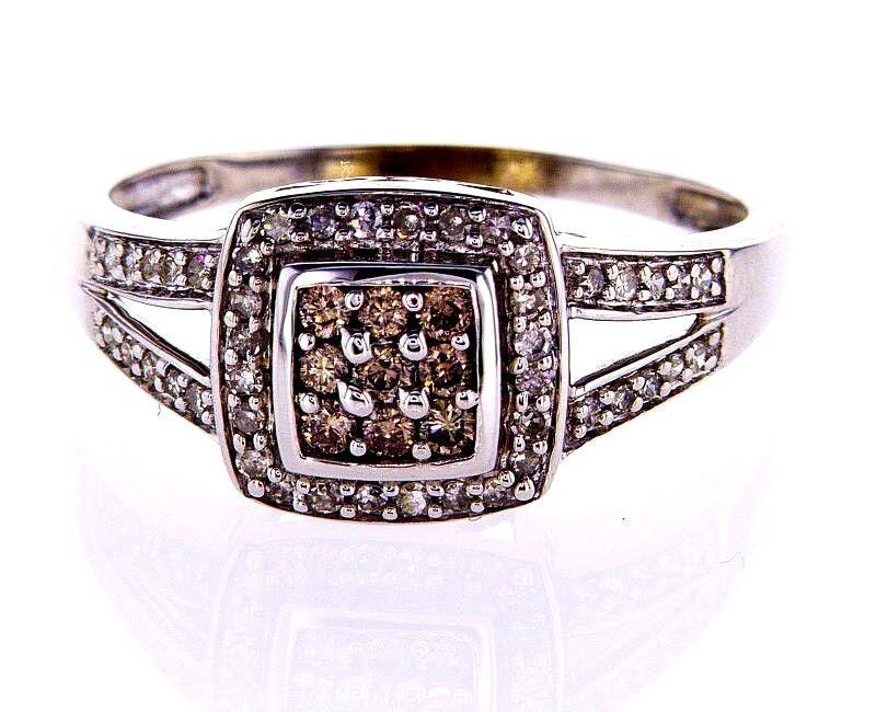BeautIful Diamond Ring 0.70 CT CHOCOLATE & White Natural Round Cut Size 7.25