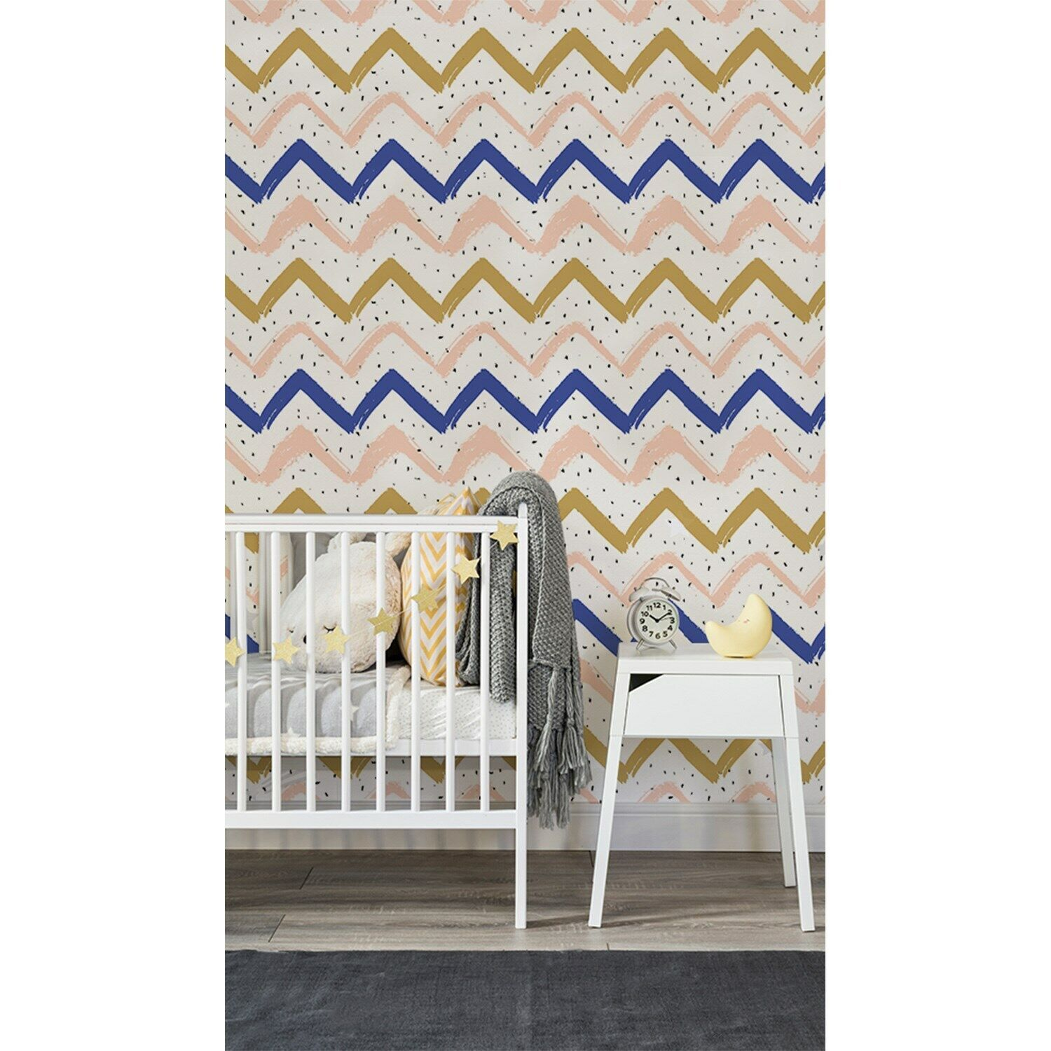 Sweet Zig Zags Traditional Simple wall Home Mural Geometric Non-Woven wallpaper