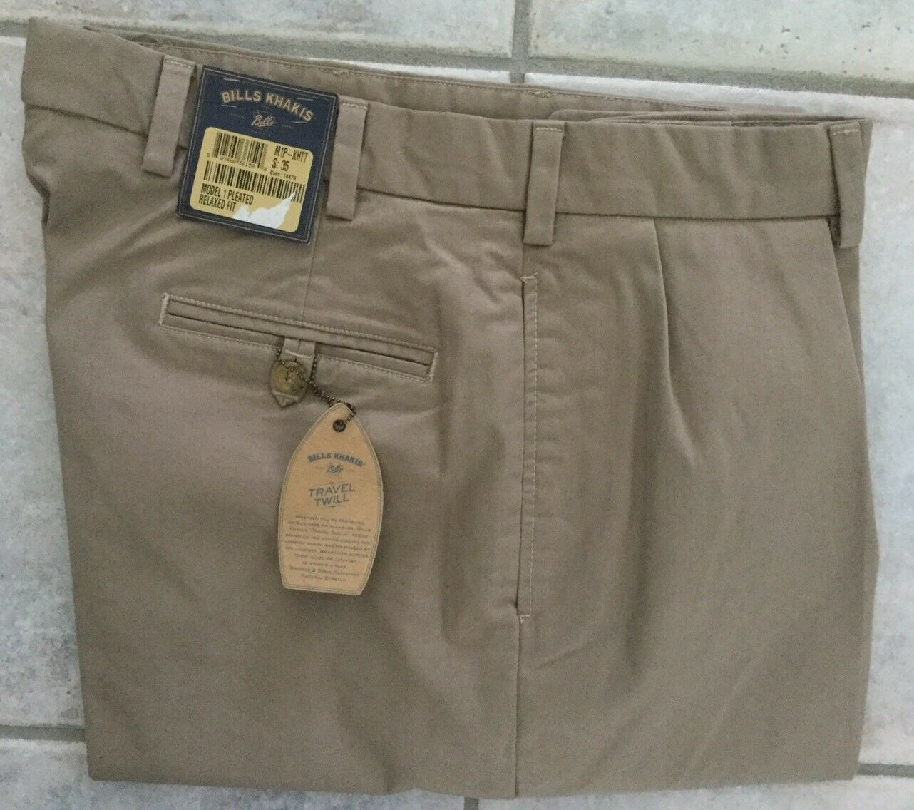 BRAND NEW-Bills khakis M1P-KHTT Size 35 KHAKI TRAVEL TWILL PLEATED