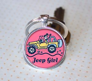 Jeep Girl Keychain Jeep Wrangler Rubicon Life is Good KEY RING Woman