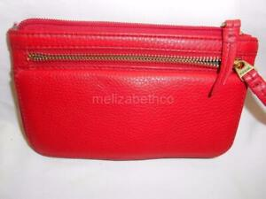 Fossil-Red-Leather-Double-Zip-FLAP-CLUTCH-Wallet-FREE-SHIP