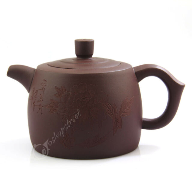 270ml Chinese Yixing Handmade Purple Pottery clay Zisha Peony Flower Teapot FM07