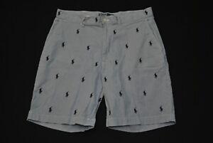 Polo Ralph Lauren All Over Logo Shorts Seer Sucker Sz 35 Critter
