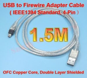 Premium-USB-to-IEEE-1394-4-Pin-4P-4Pin-Firewire-i-Link-DV-Cable-PC-Cord-AU-Stock