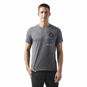 c4a7b657 Reebok CF3744 Men Training Speedwick Graphic tee SS shirts grey | eBay