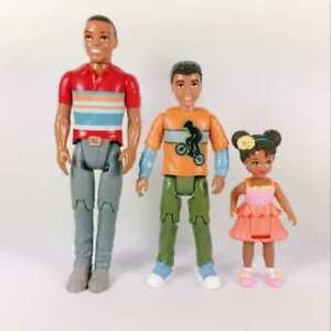 3Pcs-Fisher-Price-AA-African-Loving-Family-Dad-Toddler-brother-Grand-Dollhouse