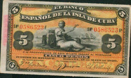 ORIGINAL VF CONDITION SPAIN COLONIAL 5 PESOS 1896 2DG 04SEP RARE