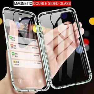 360 Metal Magnetic Adsorption Case For iPhone 12 & etc Double-Sided Glass Cover