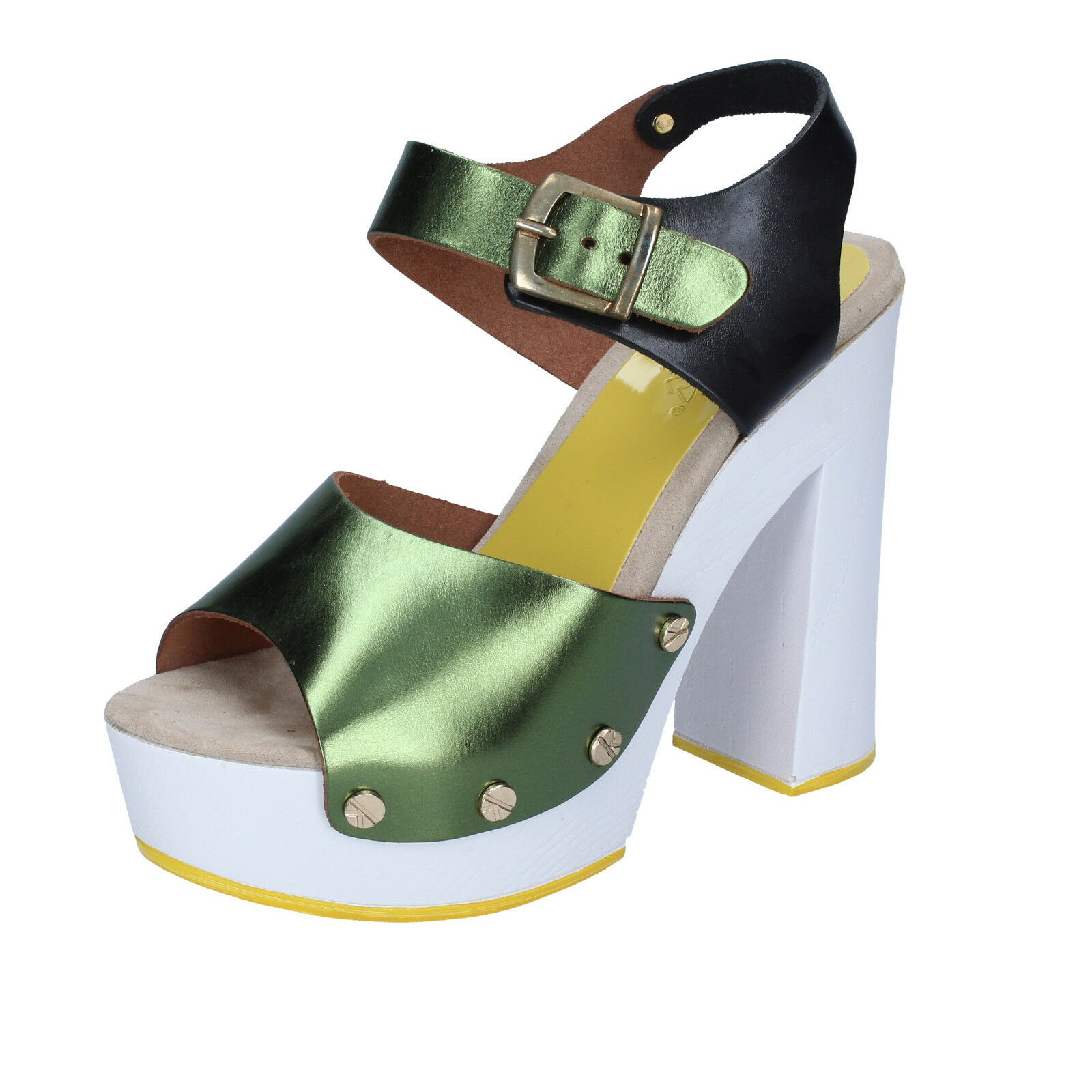 Women's shoes Suky Brand 39 Sandals Green Black Leather bs18-39