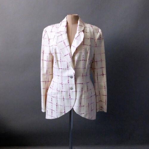 John Galliano 2pc Dress Suit Jacket Cream Purple s