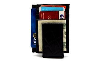 Black Magnetic  Money Clip Wallets Croc Leather Front Pocket Window ID Card Case