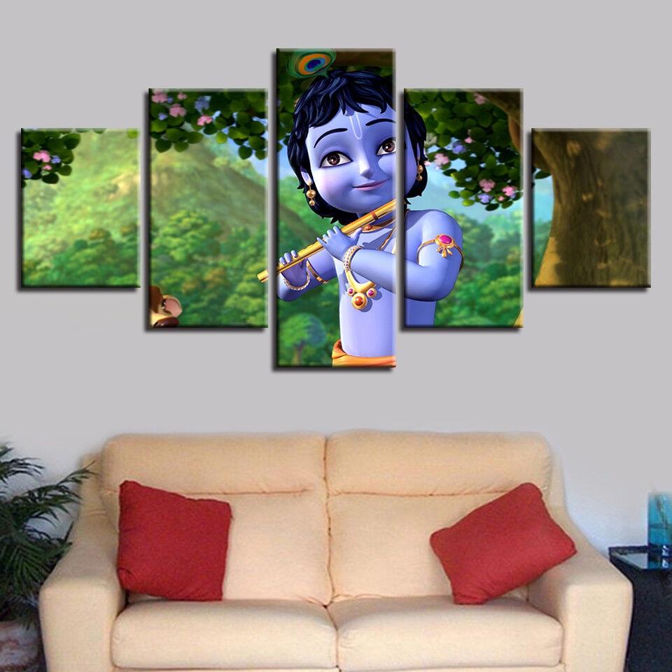 Baby Radha Krishna 5 Panel Canvas Print Wall Art