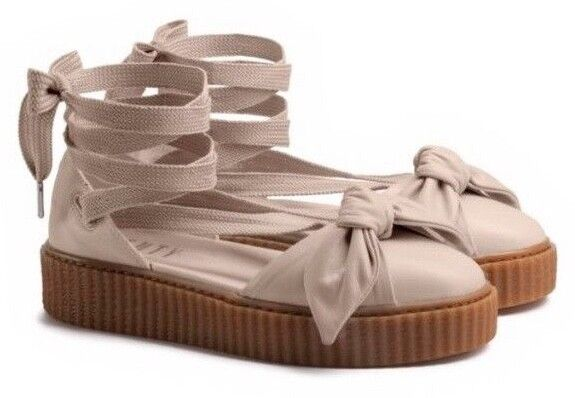 Creeper Bow Sandals Women Browns Natural By Rihanna 7 Sandal 36579403 Puma Medium Oatmeal NPmn0v8Oyw