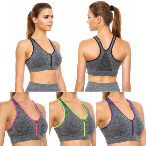 Women Sports Bra Front Zipper Gym Padded Push Up Fitness Seamless Top FG3738