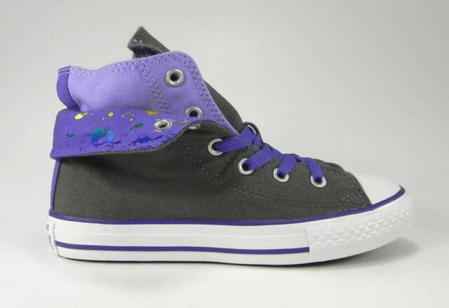 70d8e84c9cc018 Converse All Star Hi Chuck Taylor Fold Girls Youth Size Shoes Charcoal  Purple