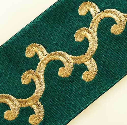 Embroidered, Ribbon Trim. Metallic Gold & Green Embroidery 3 Yards